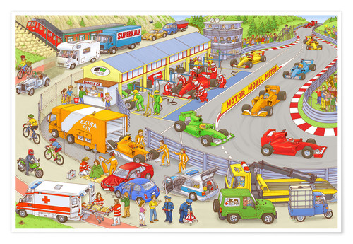 Póster Cars search and find picture: race track
