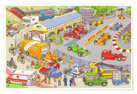 Póster  Cars search and find picture: race track - Stefan Seidel