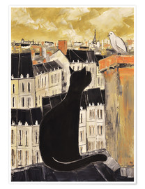 Póster Cat and dove in Paris