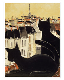 Póster Black cats on Parisian roof