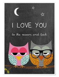 Póster  Owls -  I love you to the moon and back - GreenNest