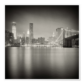 Póster New York Skyline at Night (Analogue Photography)