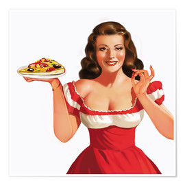 Póster the girl with a pizza