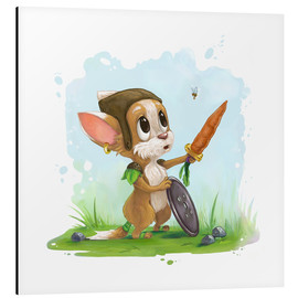 Aluminio-Dibond  Mouse fox with bee Fairy-tale illustration gift idea nursery - Alexandra Knickel