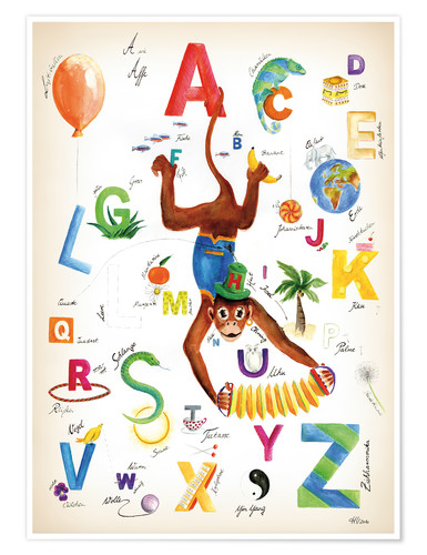 Póster ABC Alphabet animals, colours and more
