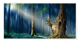 Póster  The Deer In The Mystical Forest - Monika Jüngling