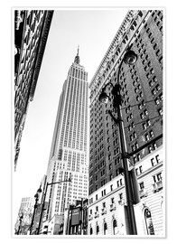 Póster  New York City - Empire State Building (monochrome) - Sascha Kilmer