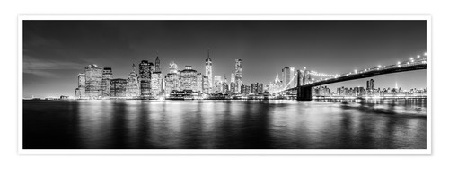 Póster New York City skyline by night (Monochrome)