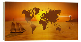 Cuadro de madera  Sailing Around The World With World Map - Monika Jüngling