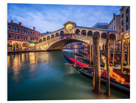 Cuadro de PVC  Rialto Bridge in Venice Italy at night - Jan Christopher Becke