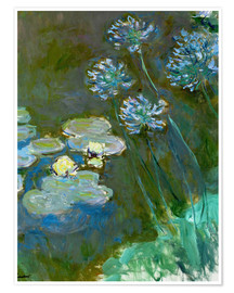 Póster  Nympheas et Agapanthes (Waterlillies a. Agapanthus) - Claude Monet