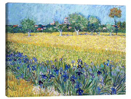 Lienzo  Arles with Irises flowers in the foreground - Vincent van Gogh