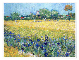 Póster  Arles with Irises flowers in the foreground - Vincent van Gogh