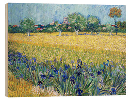 Madera  Arles with Irises flowers in the foreground - Vincent van Gogh