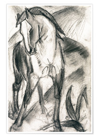 Póster  Young Horse in Mountain Landscape - Franz Marc