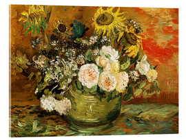 Cuadro de metacrilato  Roses and sunflowers - Vincent van Gogh