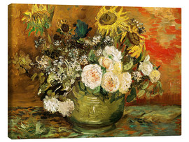 Lienzo  Roses and sunflowers - Vincent van Gogh