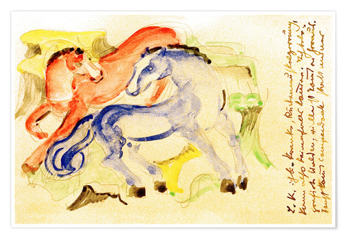 Póster Red and Blue Horses
