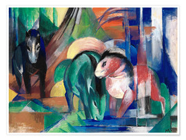 Póster  Three horses at the watering - Franz Marc