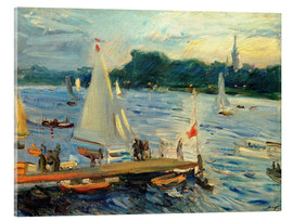 Cuadro de metacrilato  Sailboats on the Alster Lake in the evening - Max Slevogt