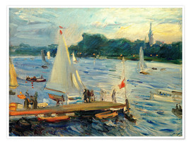 Póster  Sailboats on the Alster Lake in the evening - Max Slevogt