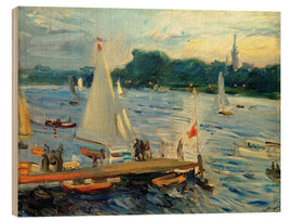 Cuadro de madera  Sailboats on the Alster Lake in the evening - Max Slevogt