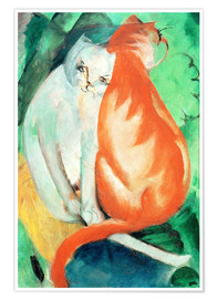 Póster  Cats, red and white - Franz Marc