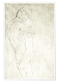 Póster  Lovers, lying to the right - Gustav Klimt