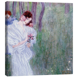 Lienzo  Girl with flowers at the edge of a forest - Gustav Klimt