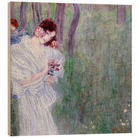 Cuadro de madera  Girl with flowers at the edge of a forest - Gustav Klimt