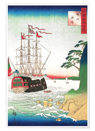 Póster  Dutch Ship at Anchor off the Coast of Tsushima - Utagawa Hiroshige