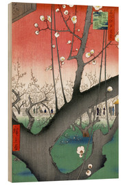 Cuadro de madera  The Plum Tree Teahouse at Kameido - Utagawa Hiroshige