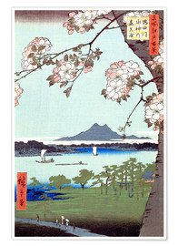 Póster  Masaki and the Suijin Grove by the Sumida River - Utagawa Hiroshige