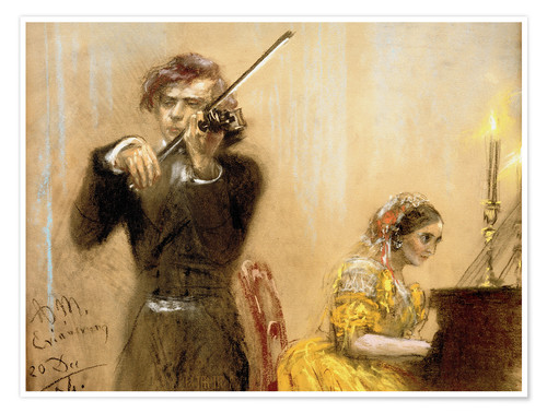 Póster Clara Schumann and Joseph Joachim playing music