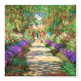 Póster  A Pathway in Monet's Garden - Claude Monet