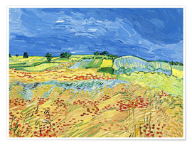Póster Fields with Blooming Poppies