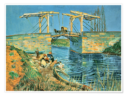 Póster The bridge of Langlois in Arles with washerwomen