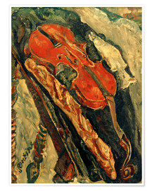 Póster Nature morte au violon, pain et poisson
