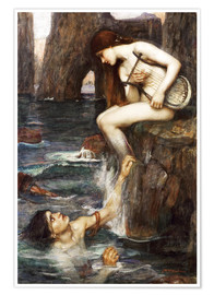 Póster  La sirena - John William Waterhouse