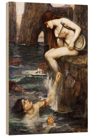 Cuadro de madera  La sirena - John William Waterhouse