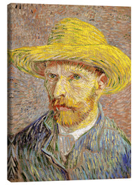 Lienzo  Vincent van Gogh with straw hat - Vincent van Gogh
