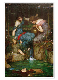 Póster  Ninfas encuentran la cabeza de Orfeo - John William Waterhouse