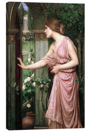 Lienzo  Psique abre la puerta del jardín de Cupido - John William Waterhouse