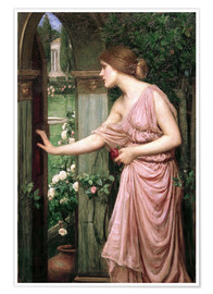 Póster  Psique abre la puerta del jardín de Cupido - John William Waterhouse