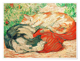 Póster  Cats on a red cloth - Franz Marc