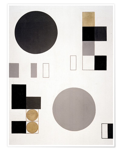 Póster Composition with circles and rectangles