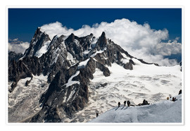 Póster Mont Blanc Massif and mountaineer, France