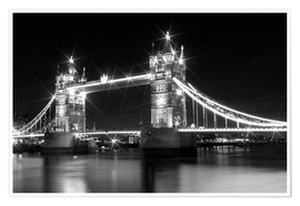Póster  Tower Bridge by Night sw - Melanie Viola