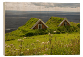 Cuadro de madera  Traditional Houses in the Skaftafell National Park, Iceland - Markus Ulrich