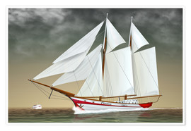 Póster Sailing boat, two-masted sailing boat